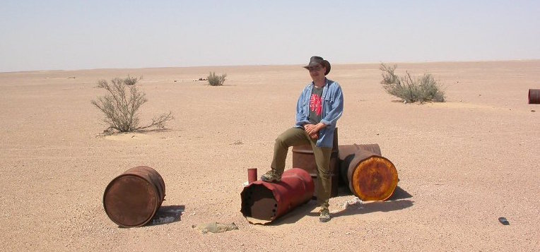"Norbert Classen at the SaU Shergottite Strewnfield in Oman: ""I found nothing but these ol' barrels."""